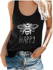 Women's Bee Happy Tank Top Casual Cute Graphic Sleeveless Scoop Neck Tunic Shirts Tops T Shirt Blouse Tee