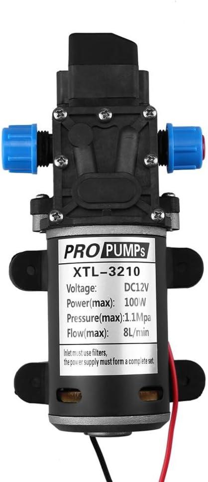 Bomba de agua autocebante de alta presi/ón para lavado de coche o barco 100 W 160 PSI limpieza y riego de jard/ín CC 12 V 8 l//min