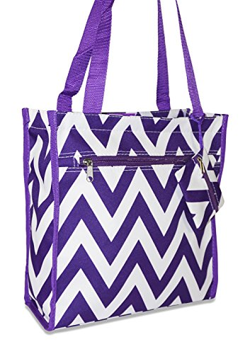 ever-moda-travel-tote-bag-12-inch-chevron-purple-white