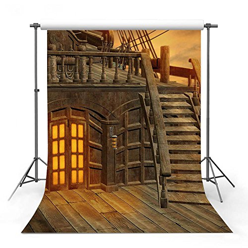 COMOPHOTO Pirates of the Caribbean Theme Party Backdrop for Photography 5x7ft Polyester Retro Wood Floor Photo Backdrop for Photo Studio Pictures Background