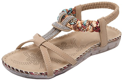 77246387 Mujer Sandalias planas Bohemia Zapatos Abiertos Brillante Diamantes  Sandalias de playa De BIGTREE Beige