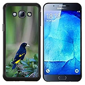 LECELL--Funda protectora / Cubierta / Piel For Samsung Galaxy A8 A8000 -- amarillo negro plumas de pájaro verde tropical --