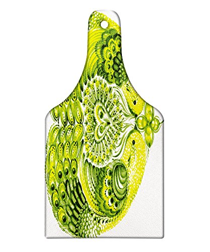 Lunarable Boho Cutting Board, Heart Shaped Peacock Feathers Paradise Animal with Clover Flower Zen Print, Decorative Tempered Glass Cutting and Serving Board, Wine Bottle Shape, Lime and Hunter Green by Lunarable