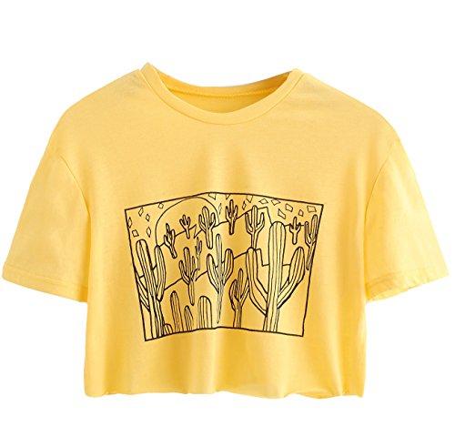 SweatyRocks Women's Cactus Print Crop Top Summer Short Sleeve T-Shirts Yellow M