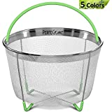 Vegetable Steamer Basket for Instant Pot 6 Quart - Stainless Steel Strainer fits Instapot - Egg & Veggie Accessories for 6 and 8 qt Pressure Cooker w/Silicone Handle and Non-Slip Legs by PerfeCome