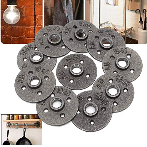 Ochoos 10pcs 1/2 Inch DN15 Cast Iron Steel Tube Pipe Floor Flange Industrial Style Pipe Fitting Wall Mount