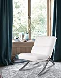 White Bonded Leather Chrome Metal Frame Contemporary Accent Lounge Chair Review