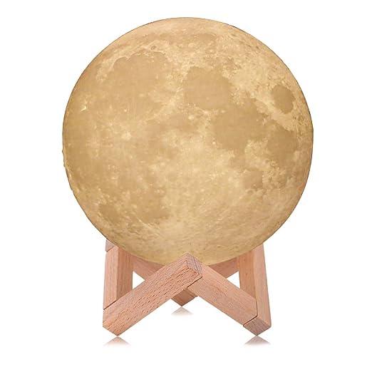 Gaocunh Moon Night Lights, lámpara de impresión 3D recargable por ...