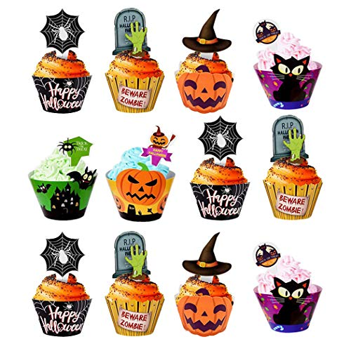 Different Types Of Halloween Cupcakes (48 pcs Halloween Cupcake Toppers Wrappers Food Picks With Bat Pumpkin Spider Ghost for Party Decorations)