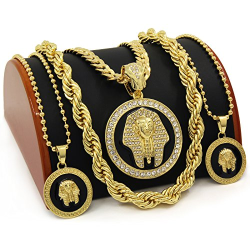 - Men's 14K Gold Plated Iced Out 3Pharaoh Pendants Hip Hop Style 7pcs Bundle W/ Rope,Cuban & Ball Chains