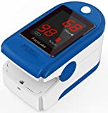 FaceLake ® FL400 Pulse Oximeter with Carrying Case, Batteries, Neck/Wrist Cord & One-Year Warranty - Blue