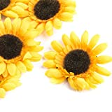 Factory Direct Craft Group of 24 Artificial Yellow Sunflower Heads for Crafts, Scrapbooking, Embellishments & Table Accents