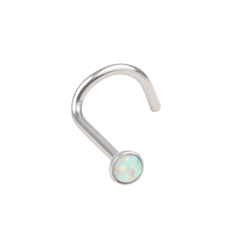 20G Surgical Steel 2.5mm Opal Nose Rings Studs Twist Bend Screw Bone L-Shape Ring Body Piercing Jewelry
