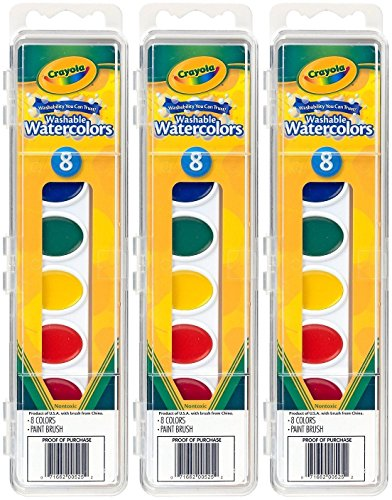 - Crayola Watercolor Paints Washable 8 Primary Colors (Pack of 3)