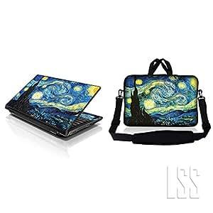 Correas portátil y Macbook PRO funda blanda w/asa oculta y Skin a juego para el compatible con 38,1 cm 39,12 cm 39,62 cm Noche estrellada