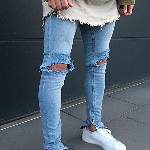 Patchato Pantaloni Distrutto Elasticizzati Strappati Da Sguardo Jeans Stile Skinny Taglio Casual Uomo Straigh Blu Biker P74Ywx7gq