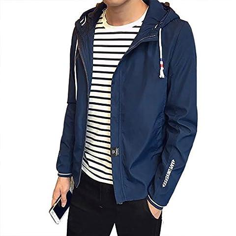 Real Spark(TM) Men Winter Thick Windbreak Hooded Softshell Fleece Lined Zip UP College Jacket Coat Blue XL