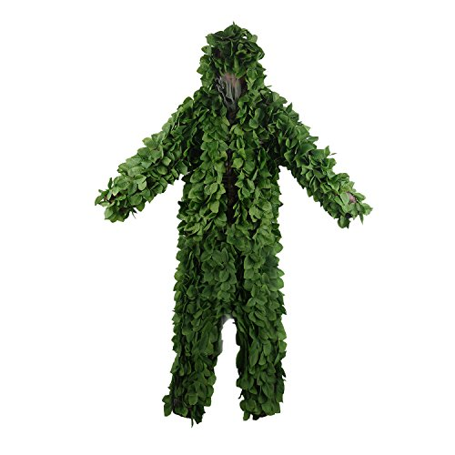 Hooded Ghillie Suit,JUMPEAK Camo Suit Woodland and Forest Design Army Sniper Military 3D Green Leaf Clothing for Jungle Hunting,Shooting,Airsoft,Wildlife,Party