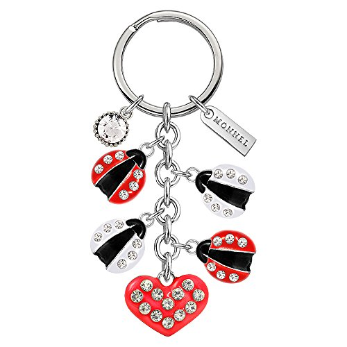 Monnel Brand New Crystal Red White Ladybugs Love Heart Keychain with Velvet Bag (Ladybug Key Ring Keychain)