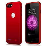 """AexPower iPhone 7 Battery Case, Ultra Thin 3000mAh Rechargeable Extended Battery Charging Case for iphoen 7 (4.7"""") Juicer Portable Power Pack-Red"""