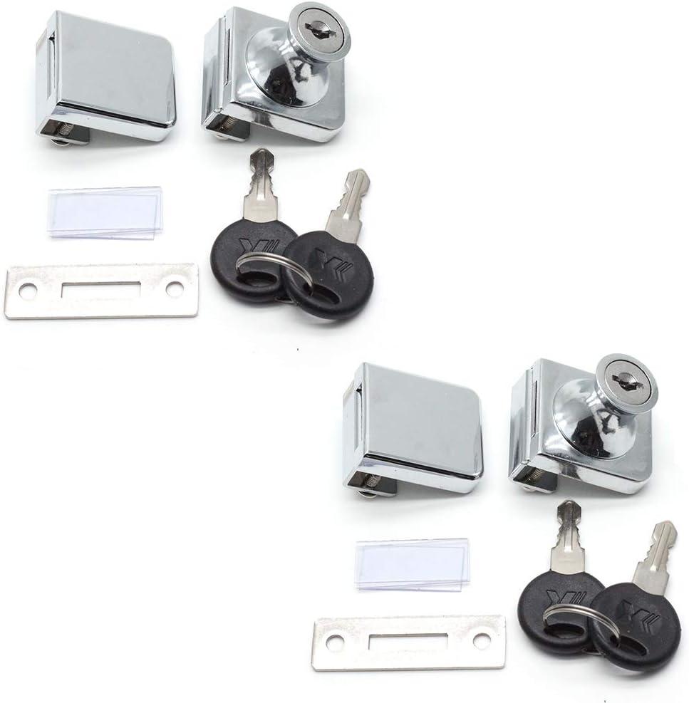 LICTOP 2 Pack Glass Door Double Latch Lock Security Cabinet Display Showcase Lock with 4 Keys for 5-8mm Glass Door
