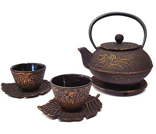 Happy Sales Cast Iron Tea Set Goldfish Black & Gold