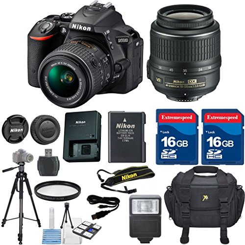 Nikon D5500 DSLR Camera Body Celltime Exclusive Bundle with Nikon 18-55mm VR Lens  HD U.V. Filter  Deluxe Camera Case  Celltime 6pc Starter Kit  Full Size Tripod  Electronic Flash  2pcs 16GB Commander Extremespeed Memory Cards  Accessory Kit