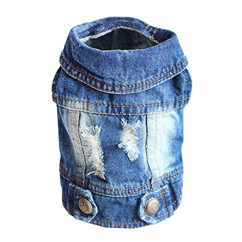 - SILD Pet Clothes Dog Jeans Jacket Cool Blue Denim Coat Small Medium Dogs Lapel Vests Classic Hoodies Puppy Blue Vintage Washed Clothes