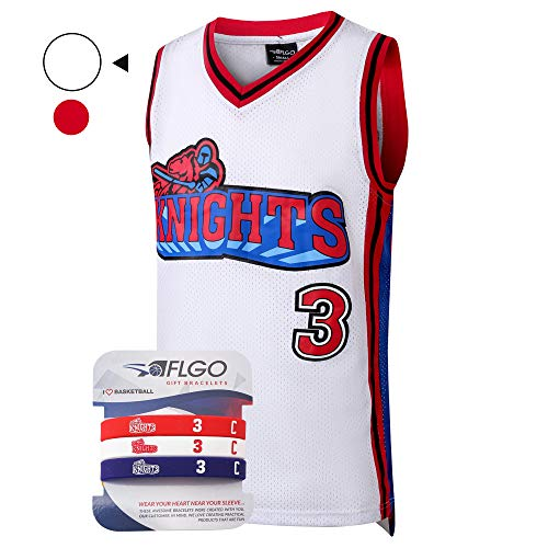 AFLGO Calvin Cambridge #3 LA Knights Basketball Jersey S-XXXL - 90's Clothing Throwback Costume Athletic Apparel Clothing Top Bonus Combo Set with Wristbands (White, ()