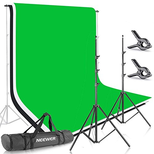 Portrait Muslin - Neewer 6.5x9.8ft/2x3M Background Stand Backdrop Support System with 6x9ft/1.8x2.8M Muslin Backdrop (White, Black, Green), Clamps and Carrying Bag for Portrait,Product Photography and Video Shooting
