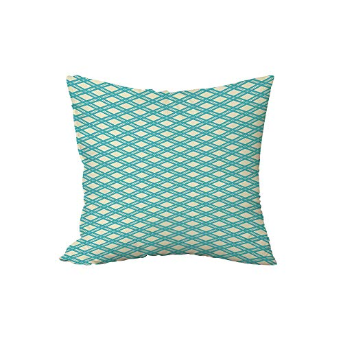 iPrint Polyester Throw Pillow Cushion,Geometric,Diagonal and Blue Stripes Rhombus Abstract Modern Ornamental Pattern Decorative,Turquoise Pale Yellow,17.7x17.7Inches,for Sofa Bedroom Car Decorate