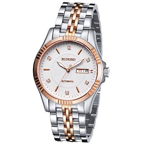 RUNOSD 8098L mujeres reloj de pulsera de lujo de cuarzo automático mecánico impermeable reloj luminoso de