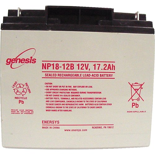 EnerSys Genesis NP18-12B - 12 Volt/17.2 Amp Hour Sealed Lead Acid Battery with Nut-Bolt Connector