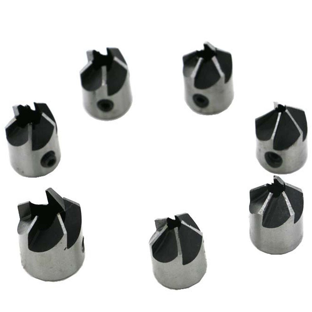 Celiy Drill Faucets Accessories Home Decorations Gifts 7 Pcs 5 Flute Countersink Drill Bit HSS Reamer Woodworking Chamfer 3-10mm