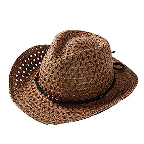 ❤️ Mealeaf ❤️ Summer Baby Cowboy Straw Hats for Children Summer Beach Sun Hat Caps(Coffee,)