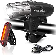 Bike Light Set USB Rechargeable Mountain Voneta Bicycle Headlight and Taillight Set WaterproofLED Front Ligh