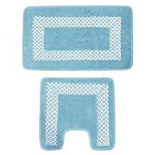Comfytex Luxury Absorbent Non Slip 2 Piece Bath Mat Set (One Size) (Blue)