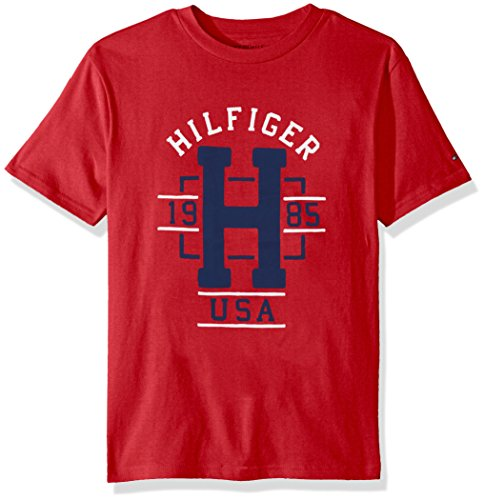 Tommy Hilfiger Boys' Big Short Sleeve Graphic T-Shirt, Cored Regal Red, Medium