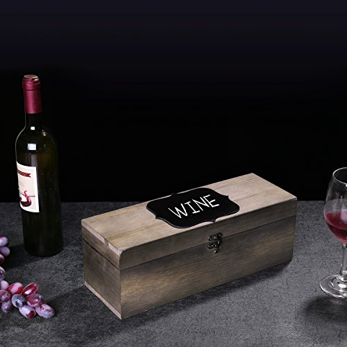 MyGift Rustic Burnt Wood Wine Gift Box & Carrying Case with Chalkboard Label by MyGift (Image #4)