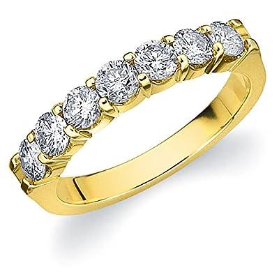 14K Gold 1.0 carat 7 Stone Ladies Round Diamond Wedding Band Anniversary Ring,