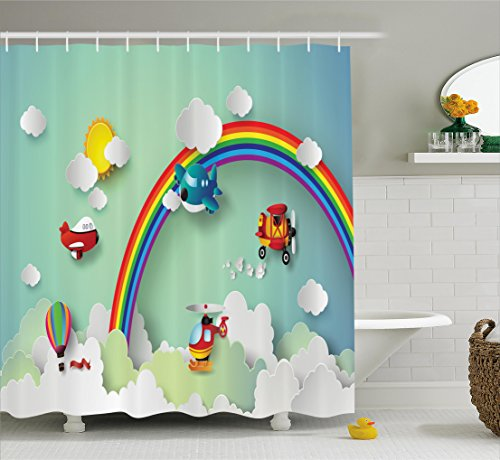Ambesonne Children Shower Curtain, Plane Hot Air Balloon Helicopter Flying on Rainbow Sunny Sky Happy Baby Illustration Fabric Bathroom Decor Set with Hooks, Rainbow Color (Sunny Bathroom Kids)