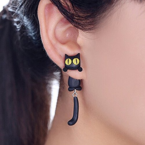 Funky Cat Costume (ZaH Pair of 925 Silver Earring Cartoon Animal Jewerly Gift Earring for Women, Men, Kids, Black Cat)