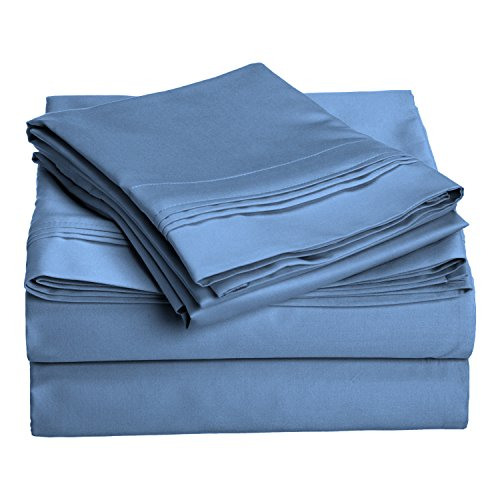 1000 Thread Count 100% Egyptian Cotton, Queen Bed Sheet Set, Single Ply, Solid, Medium Blue