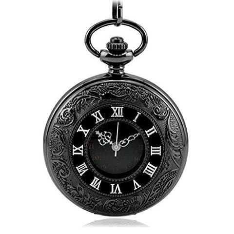 WZC Antique Black Double Display Quartz Movement Roman Numerals Pocket Watch (Men Antique Watch)