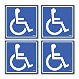 (4 Pack) Disabled Wheelchair Sign Stickers, Disability Sign, Handicap Sign Sticker, Vinyl Sticker Decal, 5.5 x 5.5