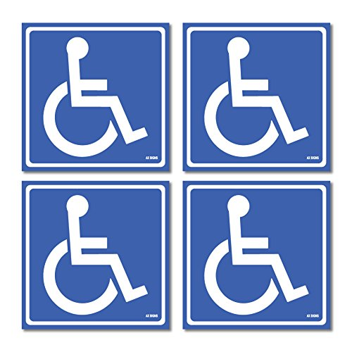 Handicap Decal - (4 Pack) Disabled Wheelchair Sign Stickers, Disability Sign, Handicap Sign Sticker, Vinyl Sticker Decal, 5.5 x 5.5