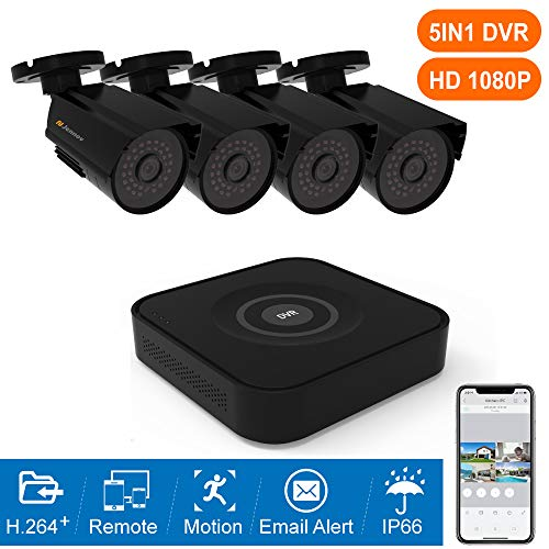 Jennov 8CH 1080P Wired Security Camera Systems DVR Kit 5 in 1 Recorder with 4X 1080P Outdoor Bullet Cameras Expandable All-Weather Adaptation Email Alert Support AHD/TVI/CVI/Analog/IP Camera