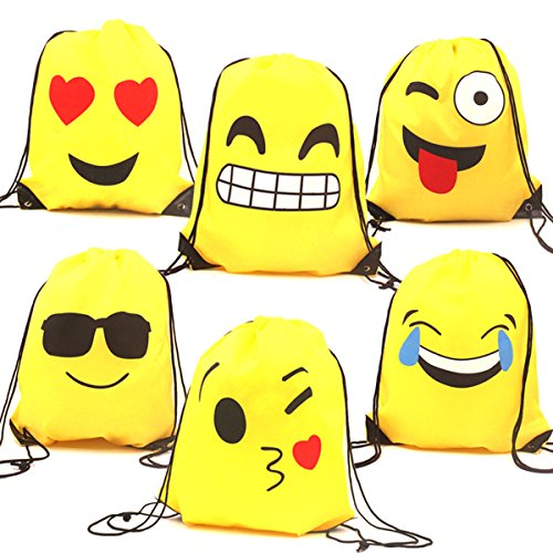Price comparison product image Zicome 6 Pack Emoji Drawstring Backpack Bags for Birthday Party Favor Supplies, 16.5 Inch by 13.5 Inch