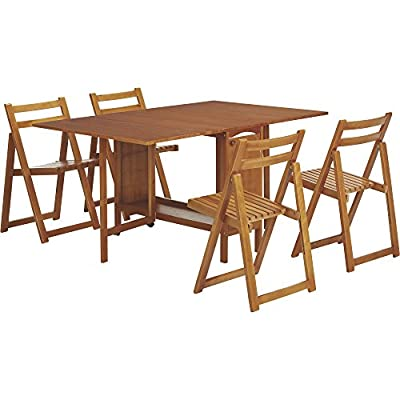 Kotula's 5-Pc. Space-Saving Dining Set - 1 Table and 4 Chairs, Oak Finish
