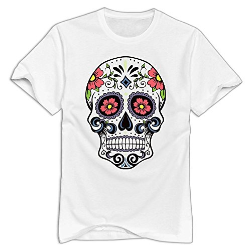 Halloween Sugar Skull Colorful Men's Short Sleeve T-Shirt Funny Shirts Short Sleeve (Skull Halloween Makeup Tutorial)